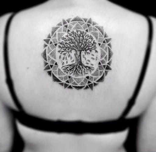Joli Tatouage Arbre De Vie Mandala Sur Le Dos