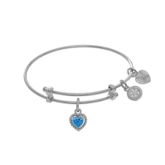 December Heart Shape CZ Birthstone Charm Expandable Tween Bangle Bracelet