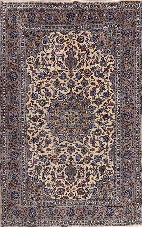 Traditional Floral Ivory Kashan Persian Area Rug Kork Wool Oriental Handmade Dining Room Carpet 6x9 6 3 X 9 9