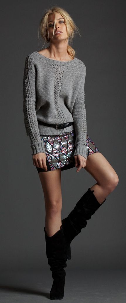 Glam sequin mini paired with a wooly jumper - cute winter get up!:
