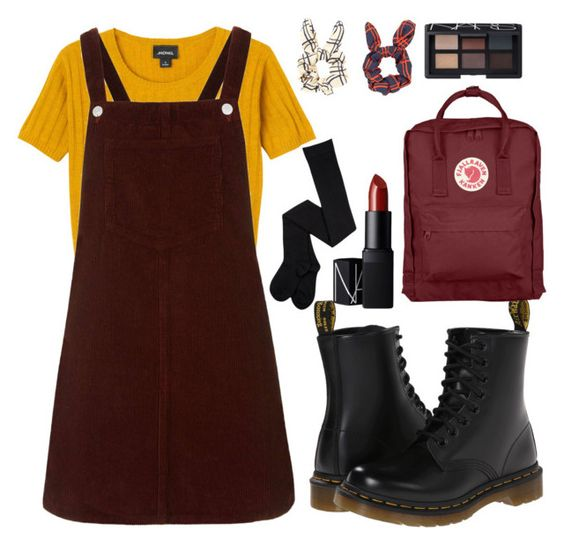 Hipster Grunge School Days by scstyle19 on Polyvore featuring Topshop, Monki, Dr. Martens, Fjällräven and NARS Cosmetics