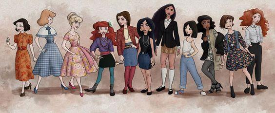 Princesas Disney vestidas a la usanza del año en que salió su película