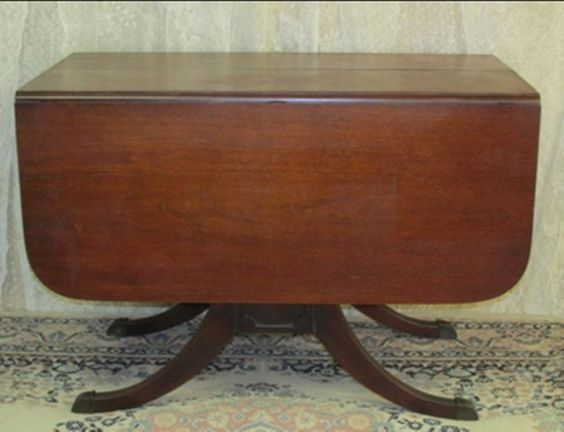 Vintage Mahogany Drop Leaf Dining Table Regency Style Base