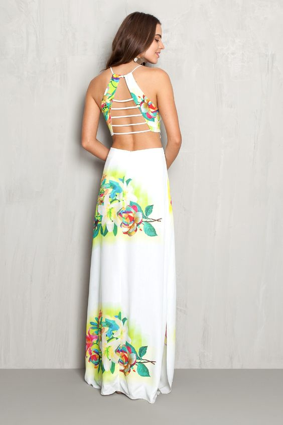 Vestido longo estampado floral localizado | Dress to: