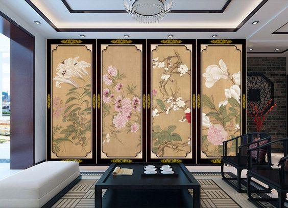 Tapisserie asiatique - Paravent aux fleurs - Aspect ancien - Lys, magnolia, pivoine, cerisier