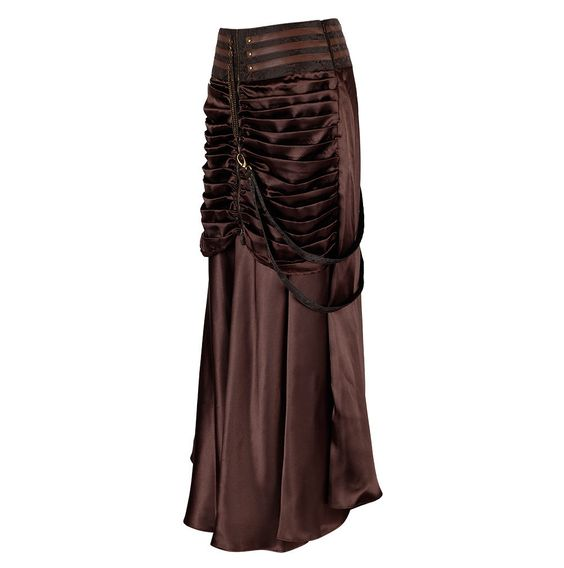 Bayard Steampunk Skirt Brown Satin Gathered Skirt with Brocade Band Front Length: 40 inches Back Length: 40 inches Fabric: Satin Opening: Side Zipper