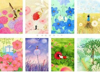 Spring Flower Illustration postcard set/ Lomo Greeting Cards/ gift cards Vintage Korean Stationery wholesale