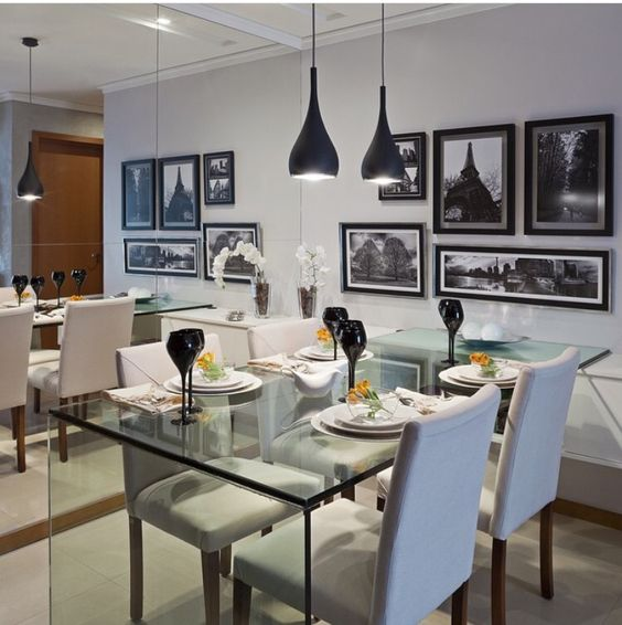 Pequenos ambientes mesa jantar vidro leveza apartamento.