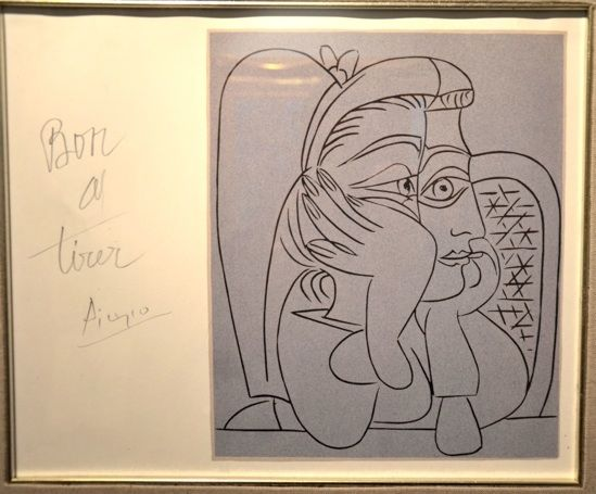 """Pablo Picasso  Lithograph in Blue after Pablo Picasso Linocut """"Head of Lady"""" Study for Chicago Picasso, signed and annotated."""