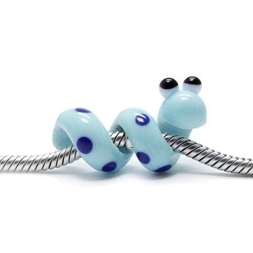 Beads Modul - Glas-Bead - Schlange blau mit blauen Punkten - 663