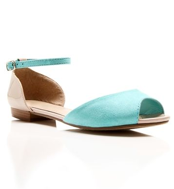 Mint Color Block Open Toe Flats... I have to have them