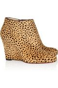 Christian Louboutin  Belle Zeppa 85 printed calf hair ankle boots