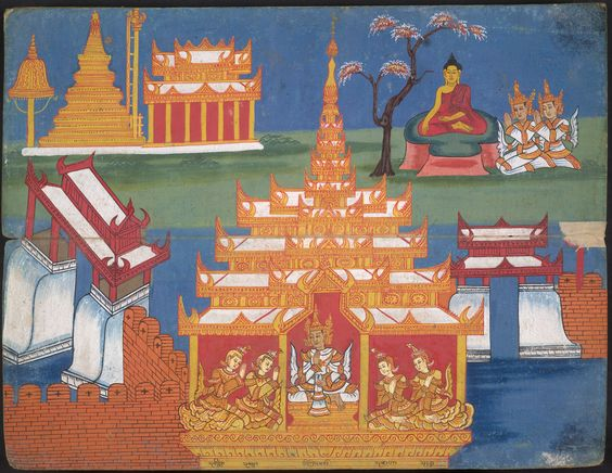 This Burmese manuscript displays the structure of the Buddhist universe - the heavens, the hells, and places associated with the Buddha. In this scene, the pillars represent Mount Meru, the universe's central axis, and its surrounding seven mountain ranges. Ananda the cosmic fish encircles the base of Meru in the surrounding ocean. On Meru's peak is the heavenly home of the god Indra (Sakka), where the Buddha once preached to his mother.