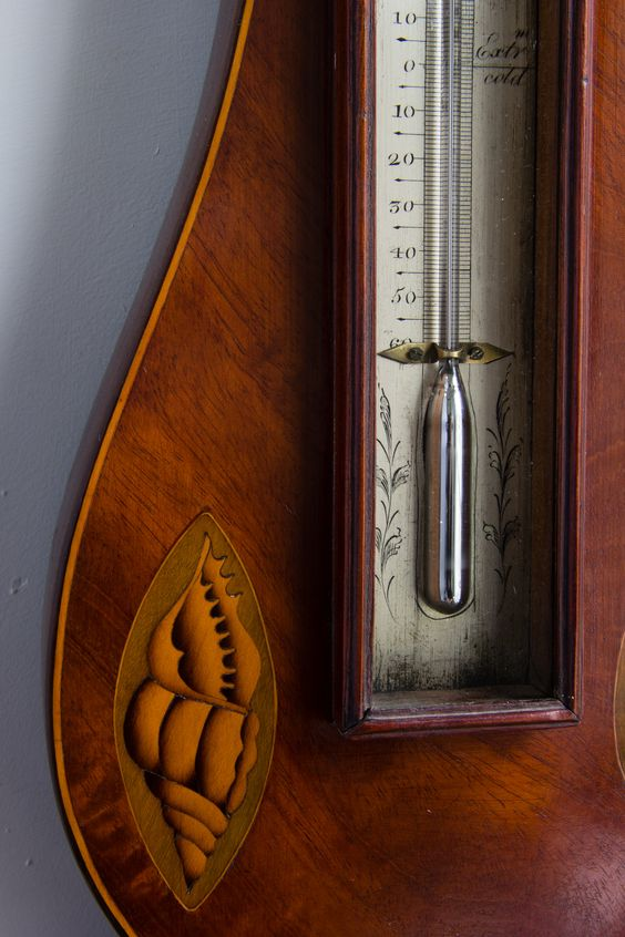 Regency barometer with thermometer, detail of the engraved scale and shell inlay.