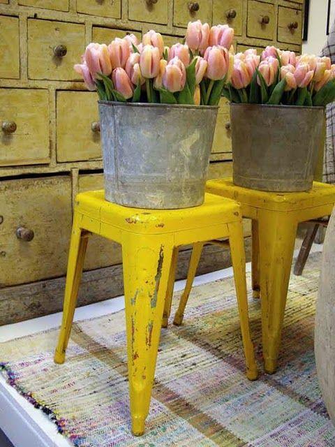 buckets: Garden Ideas, Mellow Yellow, Bucket, Garden Furniture, Yellow Stool, Bright Yellow, Pink Tulips