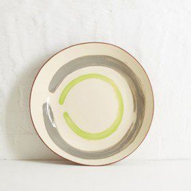 Large Terracotta Bowl (Lime Green & Grey)