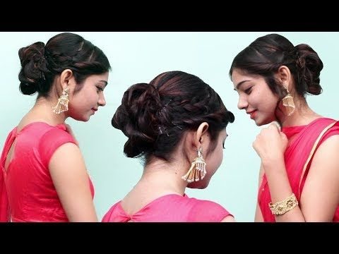 Hairstyles For Special Occasions Medium Hair Bun Hairstyles For Saree Anarkali Lehenga Youtube Bun Hairstyles Medium Hair Styles Lehenga Hairstyles