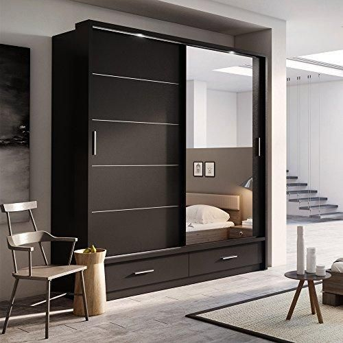 Brand New Modern Bedroom Mirror Sliding Door Wardrobe Arti 5 In Black Josef S Furniture Wardrobe Door Designs Wardrobe Design Bedroom Cupboard Design