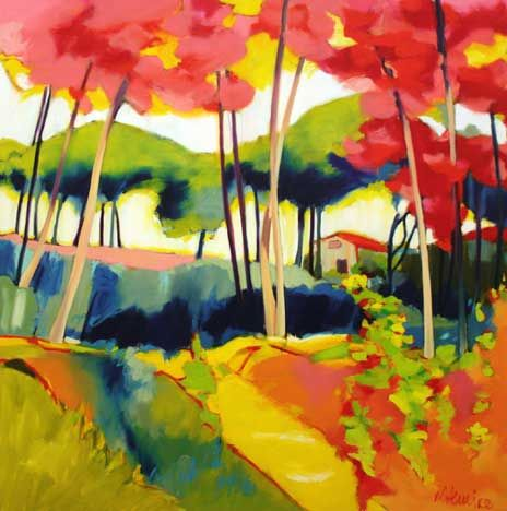 Madeleine Lemire, her landscapes are rich with unexpected color combinations..love the pink trees!
