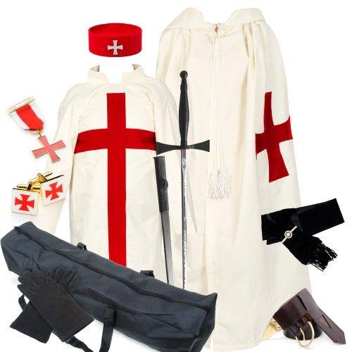 KT Quality Leather Red Knight Templar Belt /& Frog Knights Regalia
