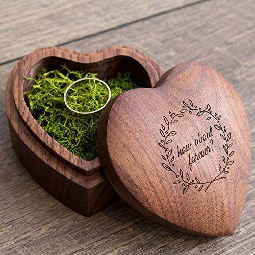 """Heart shaped wood box filled with green moss""""How about forever"""" engraving"""
