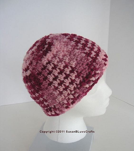 """""""griddle"""" stitch beanie - cute with a multicolored yarn:"""