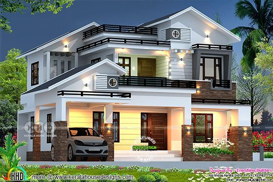 2689 Sq Ft Mixed Roof House Rendering In 2020 House Roof Design Kerala House Design House Roof