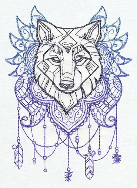 Wolf Totem Pole Designs Embroidered Decorative Linen By