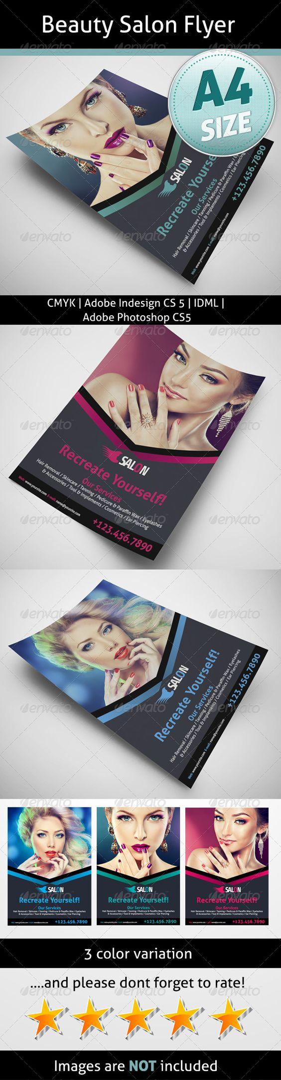 Beauty Salon Flyer  #GraphicRiver         A4 8.2677×11.6929   Bleed 5 mm   InDesign CS5   Photoshop CS5   300dpi   Idml   CMYK   Aller:  .fontsquirrel /fonts/Aller   Share:  .fontsquirrel /fonts/Share-Regular   Info file included   Images are not included   If you need any help with your purchase please contact me   Photos are not included. If you want it then just send me a message after your purchase     Created: 24August13 GraphicsFilesIncluded: PhotoshopPSD #JPGImage…