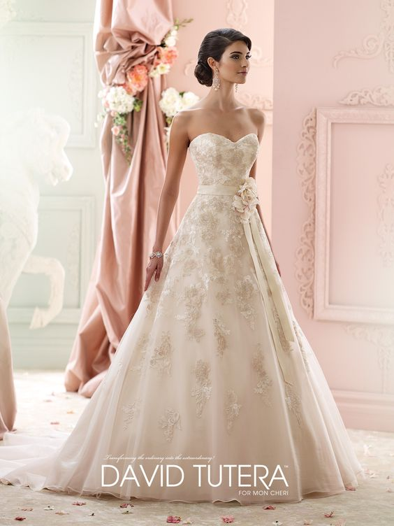 David Tutera for Mon Cheri | Style No. › 215269 | Strapless organza, tulle and metallic embroidered lace over satin ball gown, soft sweetheart neckline, detachable grosgrain flower belt, backcovered buttons, chapel length train, detachable spaghetti and halter straps included. Sizes: 0 – 20, 18W – 26W
