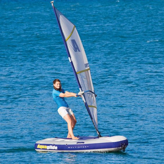 The Inflatable Windsurfer And Sailboat - Hammacher Schlemmer - This is the inflatable watercraft that converts from a windsurfer to a sailboat.