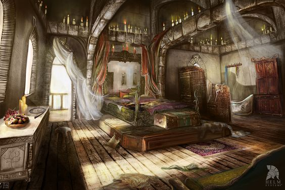 The elven mage Paanoras room in the Magician tower in the Moonsilver mountains.: