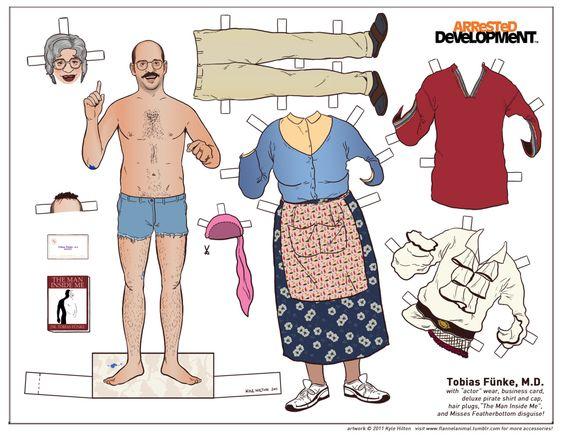 figurine papier arrested devellopment poupee illustration 07 Figurines en papier des personnages dArrested Development  design bonus