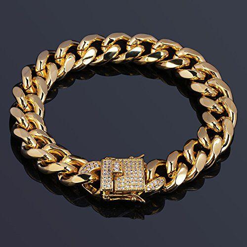 Jinao 12mm 18k Gold Plated Cuban Chain Bracelet With 1ct Lab Diamond Clasp Hip Hop Bracelet Gold Bracelet For Women Silver Chain For Men Silver Chain Bracelet