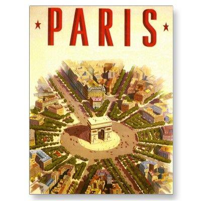 Paris Travel Poster #paris #france #vintage #travel #poster #mona #lisa #louvre #venus #de #milo #pantheon #arc #de #triomphe #notre #dame #cathedral #basilica #sacred #heart
