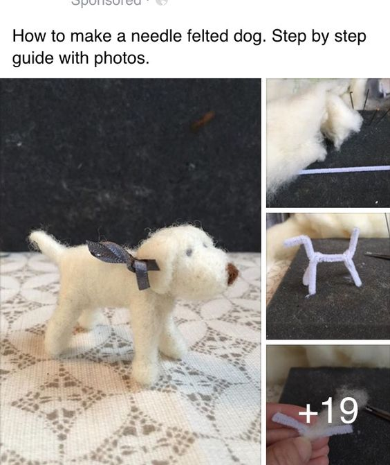 Needle felted dog tutorial  Step by step guide with photos  Visit Facebook page sweet art felts