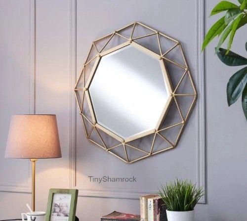 Decorative Wall Mirror Abstract Geometric Metal Art 24 Accent Home Decor 3d Largedecorativewall Nastennoe Zerkalo Ukrasit Zerkalo Bolshie Nastennye Zerkala