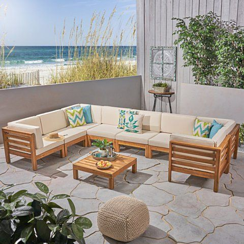 Dawson Outdoor U Shaped Sectional Sofa Set With Coffee Table 9