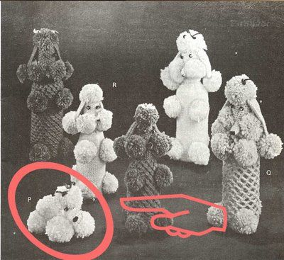 Was looking for soap saver patterns, and found a 1960 poodle soap saver. You put soap in the poodle and wash with it... kind of disturbing, I know!