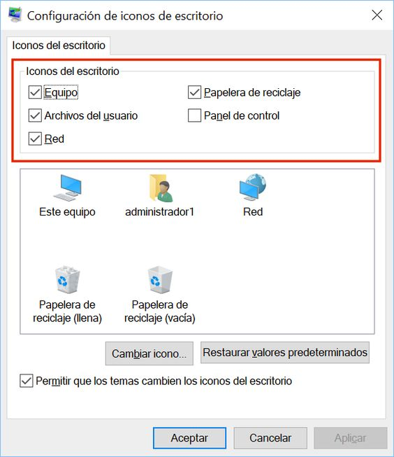 Iconos de Escritorio en Windows 10