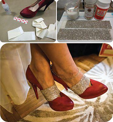 Cute glittery shoe accessories, DIY