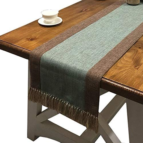 Phnam Table Runner With Tassels Linen Cotton Long Coffee Dining
