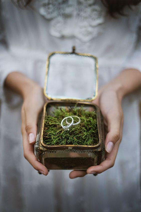 Glasschatulle mit Moos, für Eure Hochzeitsringe