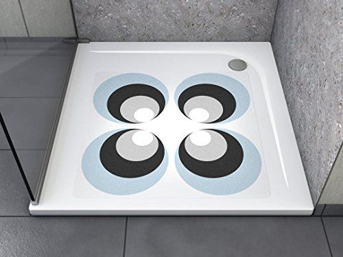 """Anti-Rutsch Aufkleber """"Muster Retro (quadratisch)"""" Antibakteriell, selbstklebend, leicht zu installieren und rückstandslos entfernbar. Ersetzt herkömmliche, schmutz-ansetzende Duschmatten. Für Badewanne und Dusche."""