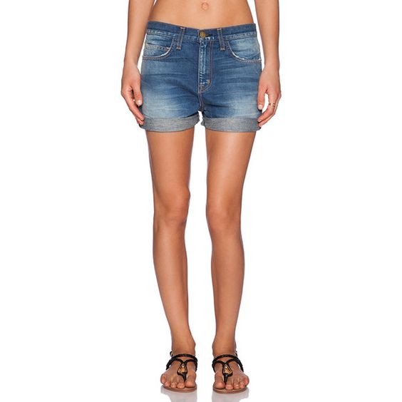 Current/Elliott The Short West Coast Charmer Denim ($66) ❤ liked on Polyvore featuring shorts, jean shorts, denim short shorts, cuffed denim shorts, cuffed shorts, short jean shorts and denim shorts