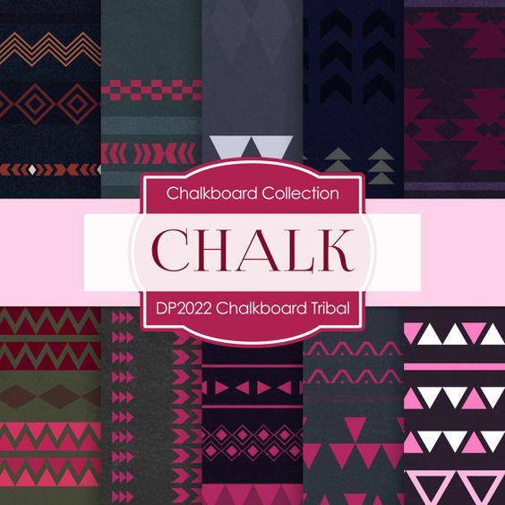 Chalkboard Digital Paper Chalk Damask Chalk by DigitalPaperStore