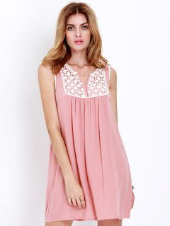 Pink Sleeveless Embroidered Lace Ruching Dress