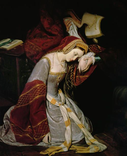 Depiction  by Edouard Cibot of Anne Boleyn in the Tower after her arrest on May 2, 1536 on charges of adultery, incest, treason and if that weren't enough… witchcraft.