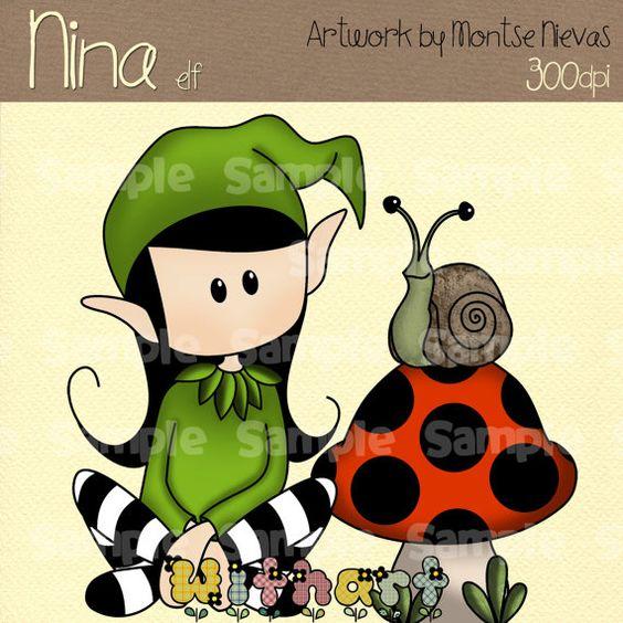 Elf elves Nina dolls 0064 digital clip art set images by Withart, $2.99