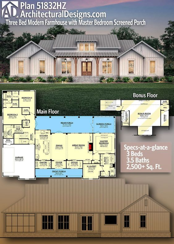Plan 51832hz Three Bed Modern Farmhouse With Master Bedroom Screened Porch House Plans Farmhouse Architectural Design House Plans Modern Farmhouse Plans